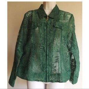 Green Burnout Zip Up Overshirt Jacket